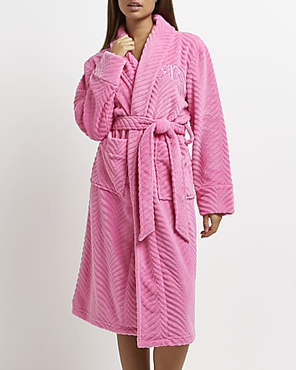 Pink embroidered RI dressing gown
