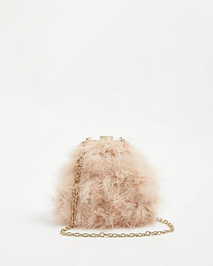 Pink faux feather shoulder bag