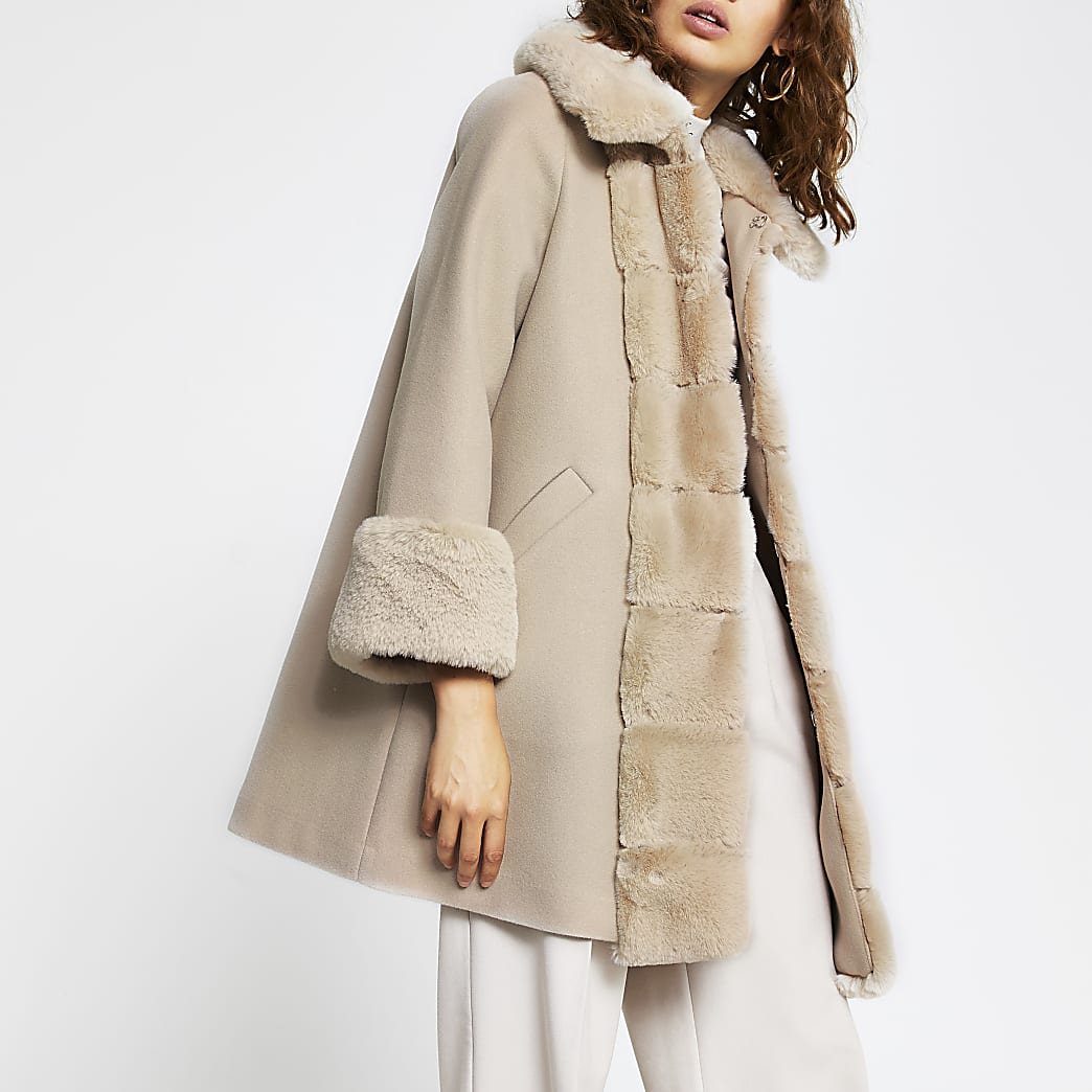 Pink faux fur panelled swing coat