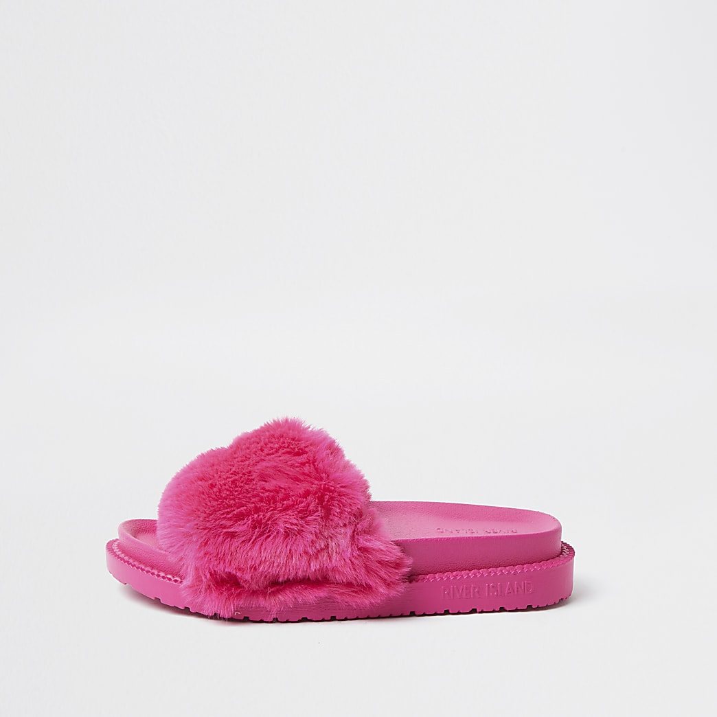 Pink faux fur slider
