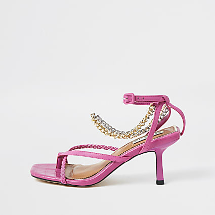 Pink faux leather chain mid heel sandal