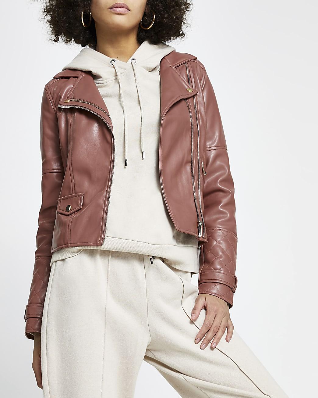 Pink faux leather double zip biker jacket