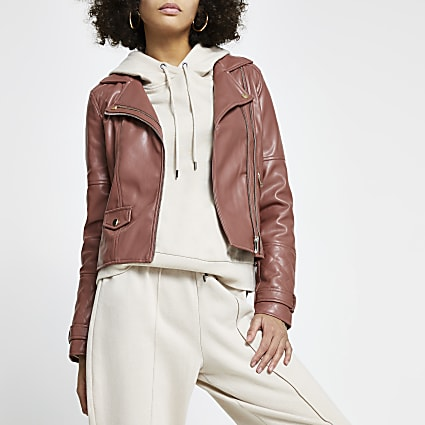 Pink faux leather double zip biker jacket