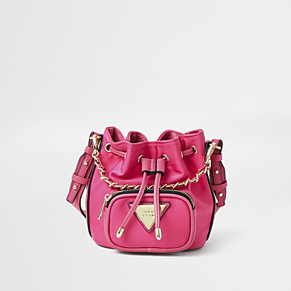 Pink faux leather mini duffle bag