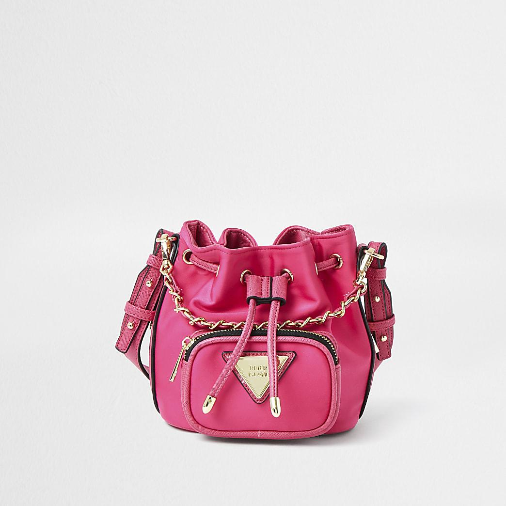 Pink faux leather mini duffle bag