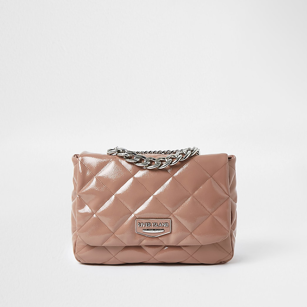 Pink faux leather quilted shoulder bag