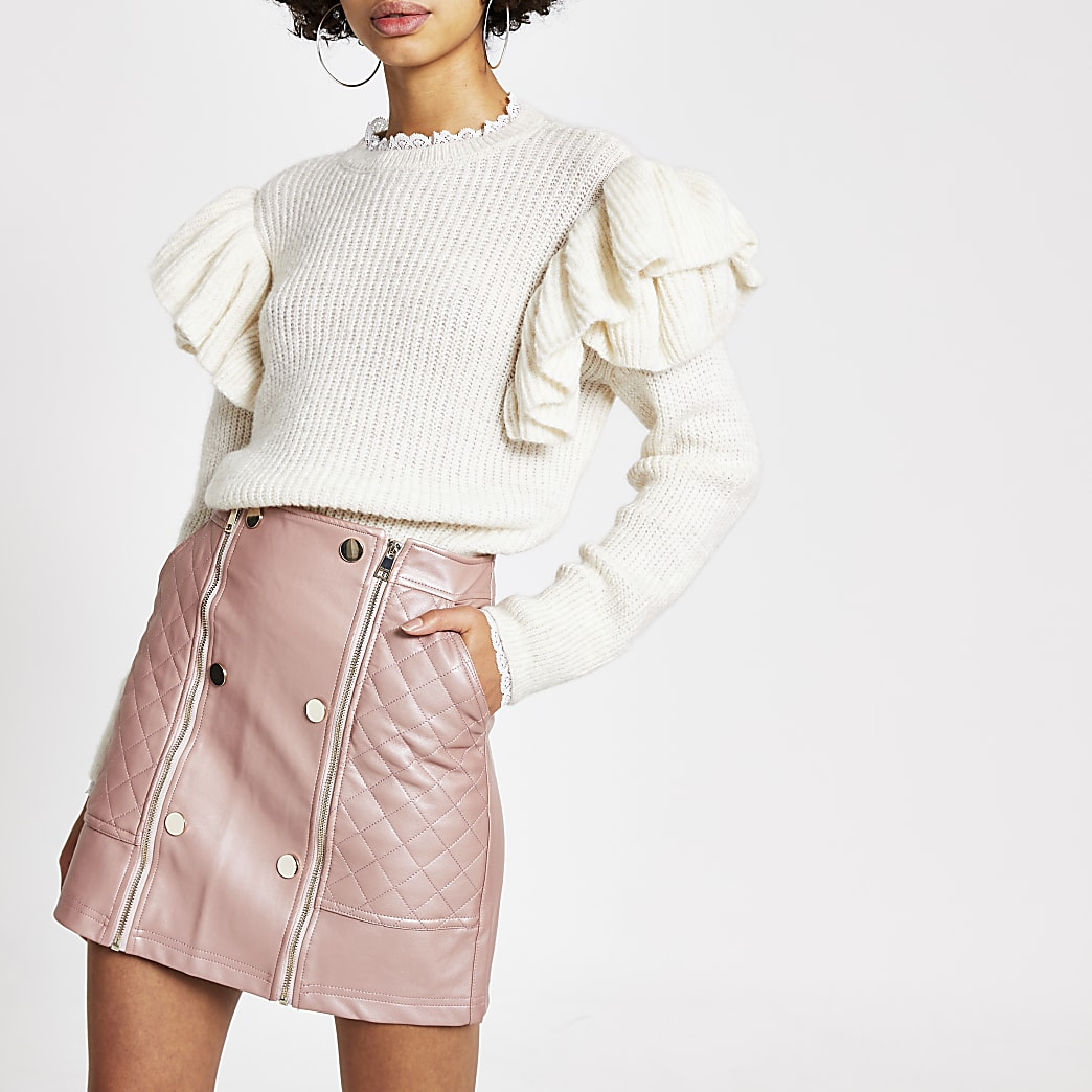 Pink faux leather quilted zip mini skirt