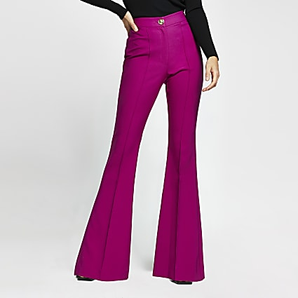 Pink flare fitted trousers