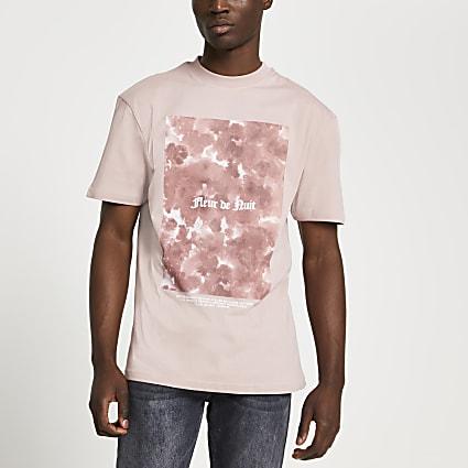 Pink 'Fleur De Nuit' tie dye box t-shirt