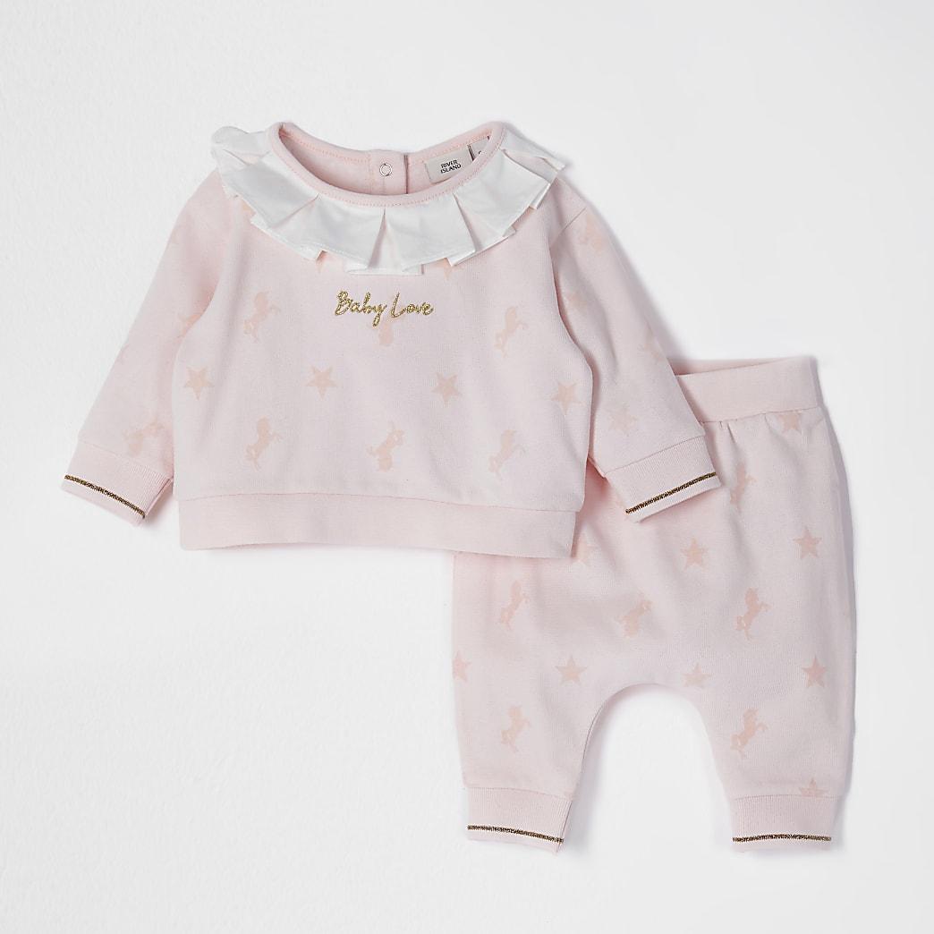 Pink flock print collar sweat set