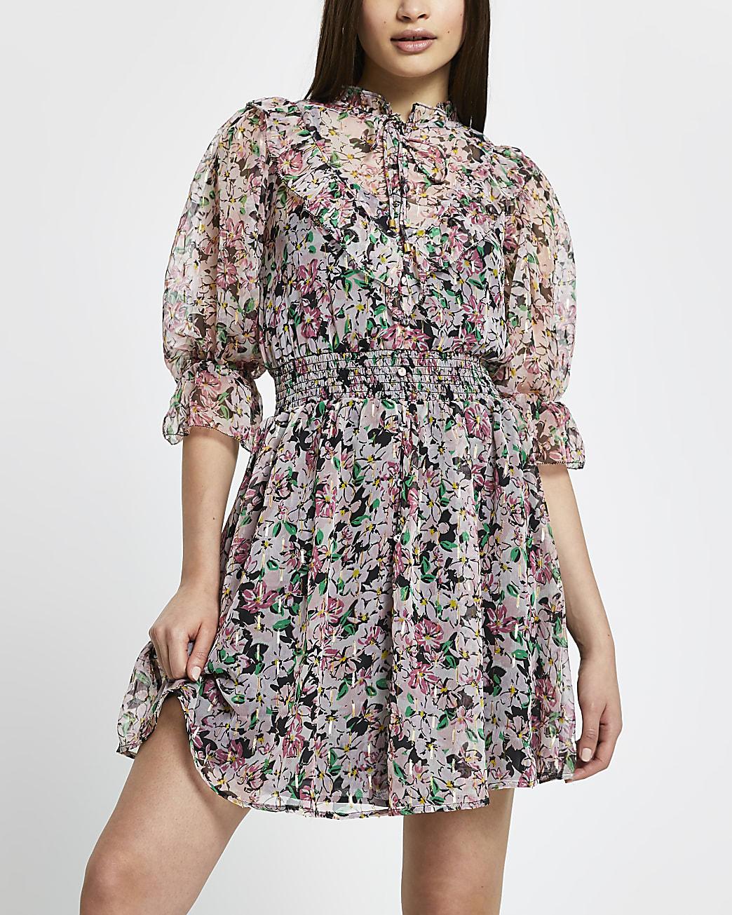 Pink flora puff sleeve mini dress