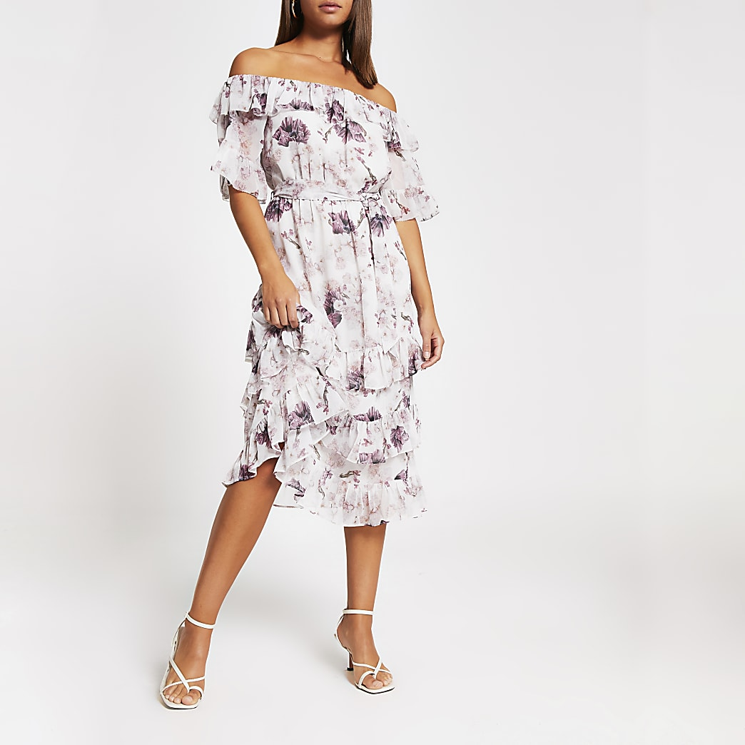 Pink floral bardot ruffle midi dress