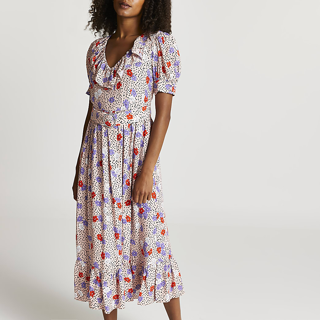 Pink floral belted frill midi dress