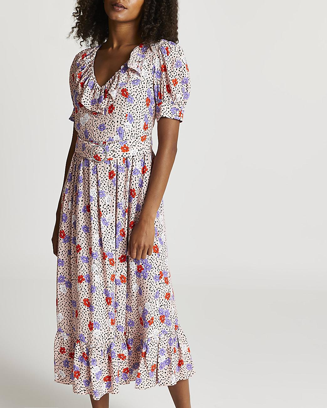 Pink floral belted midi dress