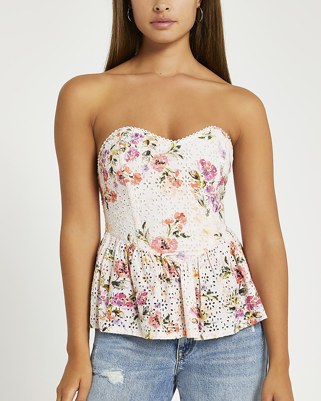 Pink floral broderie corset top
