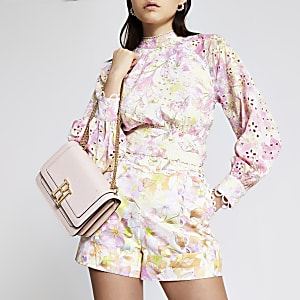 Pink floral broderie open back cropped top