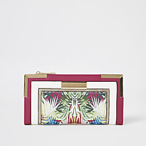 Pink floral colour blocked fold out purse