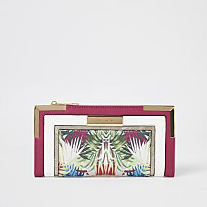 Roze uitvouwbare portemonnee met bloemenprint en kleurvlakken