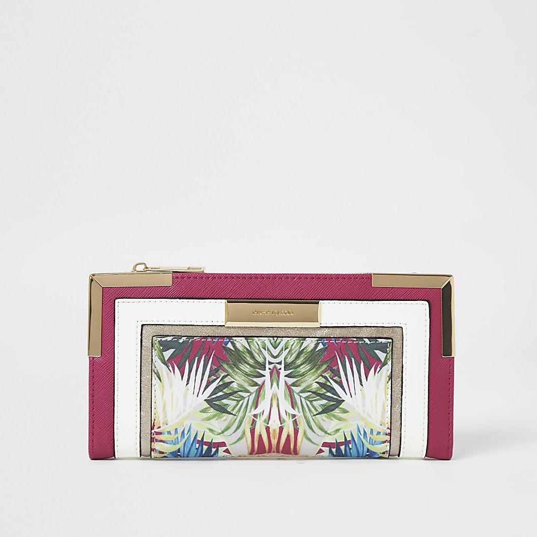 Portefeuille à rabat fleuri colour block rose