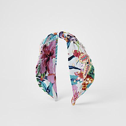 Pink floral embellished headband