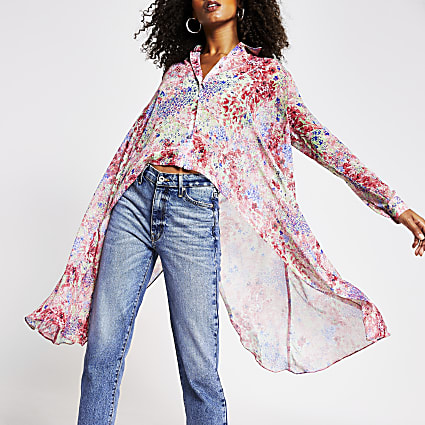 Pink floral frill asymetrical Shirt