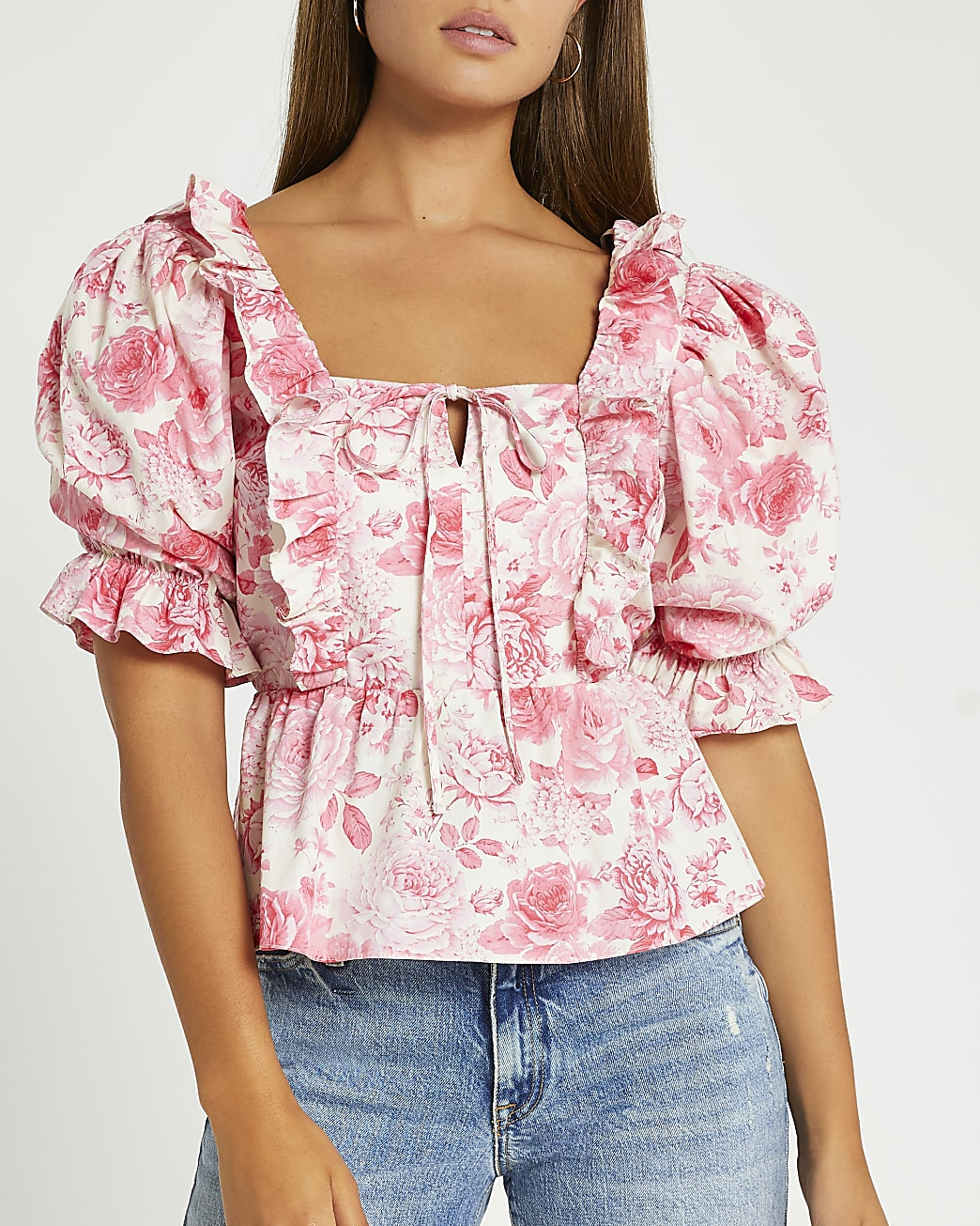 Pink floral frill detail puff sleeve top