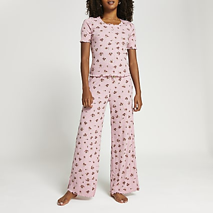 Pink floral frill detail pyjama set