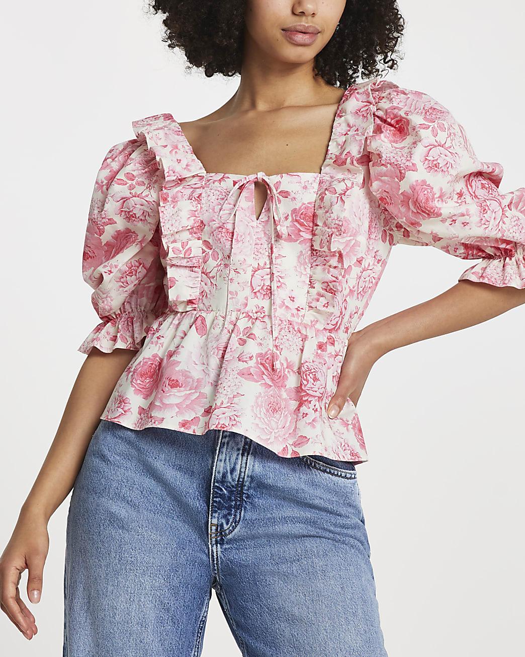 Pink floral frill hem blouse top