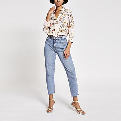 Pink floral frill long sleeve shirt