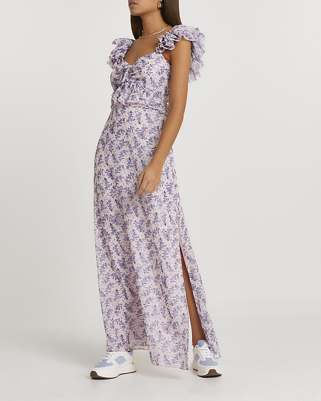 Pink floral frill sleeve maxi dress