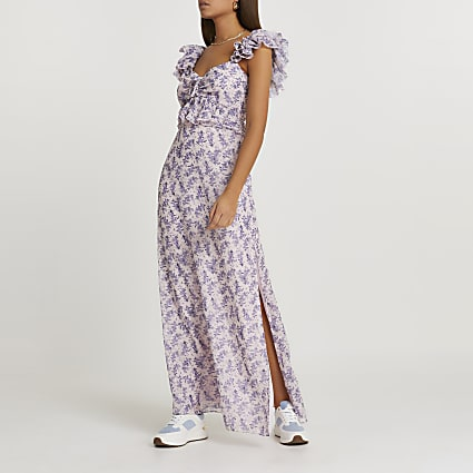 Pink floral frill sleeve maxi dress