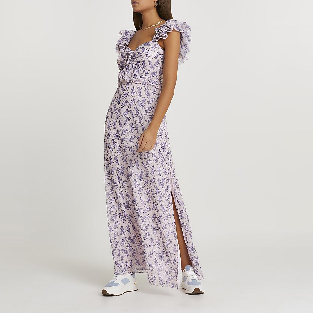 Pink floral frill sleeve midi dress