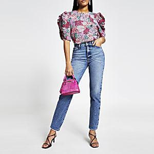 Pinke Popeline-Bluse mit Blumenmuster und Rüschenärmeln