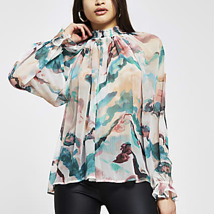 Pink floral high neck ruched blouse top