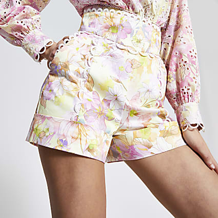 Pink floral high waist embroidered shorts