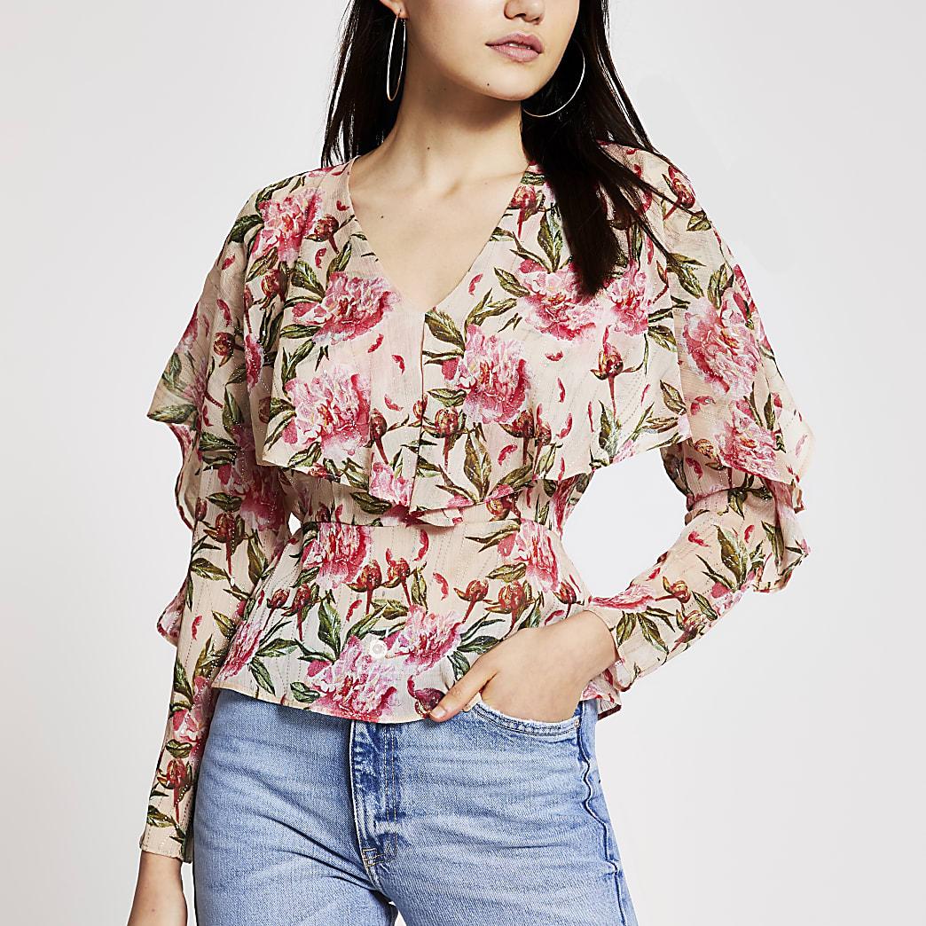 Pinke Bluse mit Blumenmuster und langen Rüschenärmeln