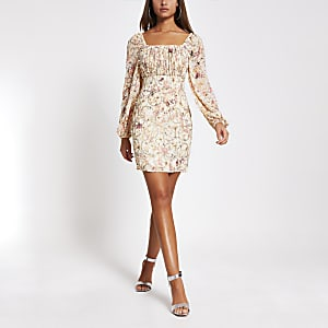 Pink floral long sleeve bardot bodycon dress
