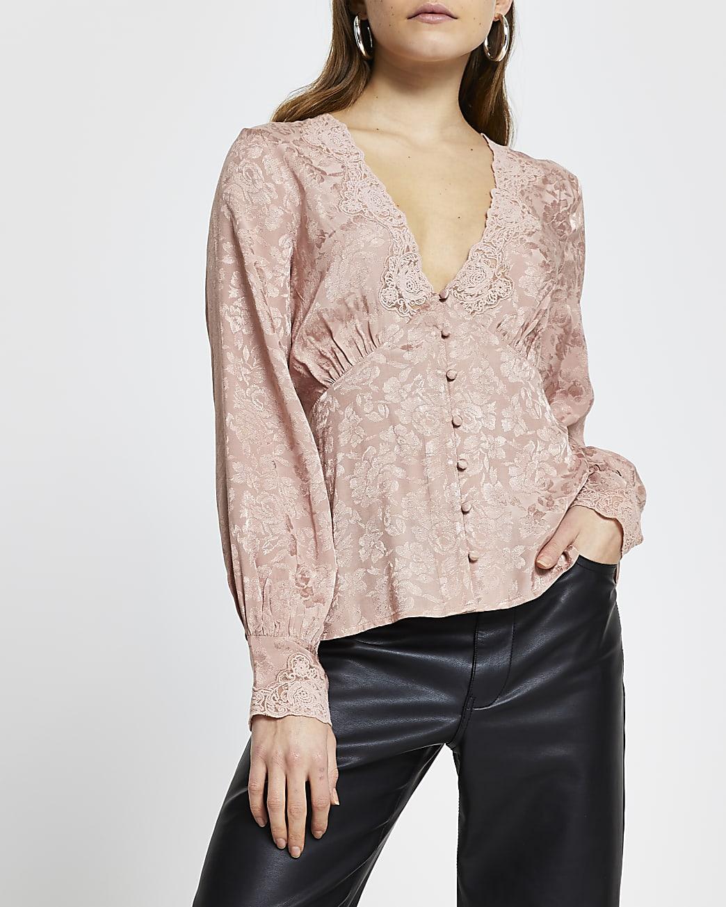 Pink floral long sleeve tea blouse top