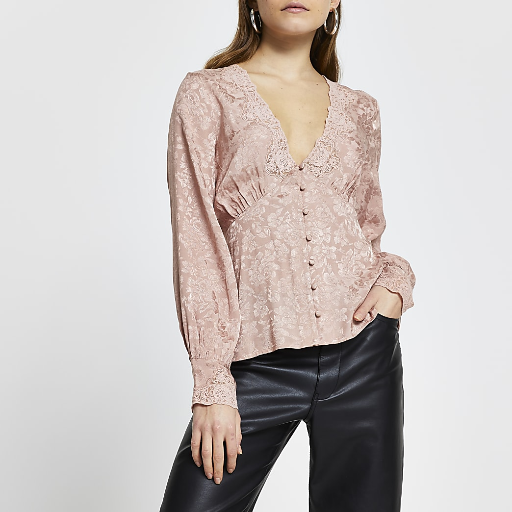 Pink floral long sleeve tea blouse top