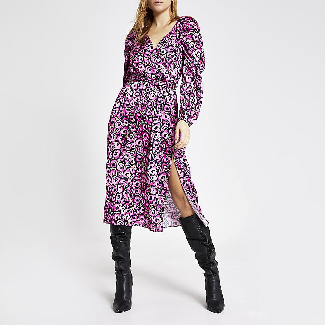 Pink floral long sleeve wrap midi dress
