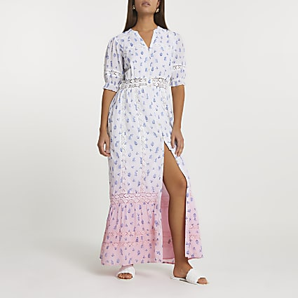 Pink floral ombre lace maxi dress