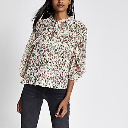 Pink floral pleated tie V neck blouse