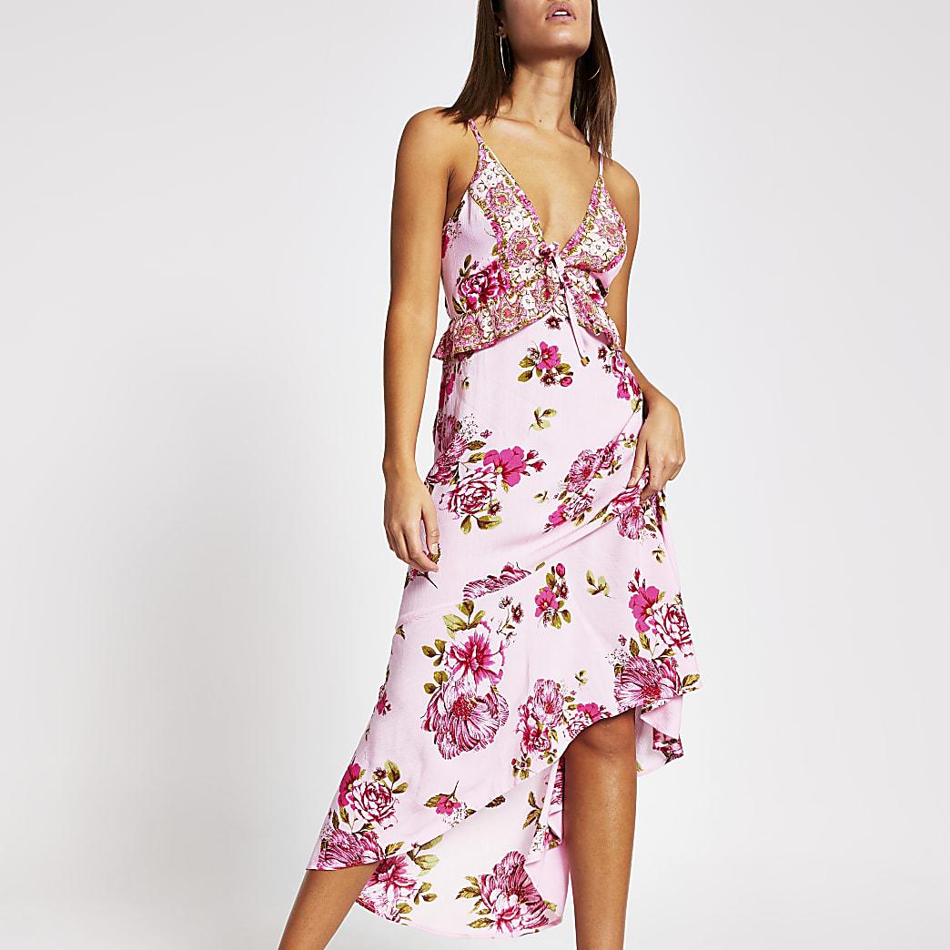 Pink floral plunge neck maxi beach dress
