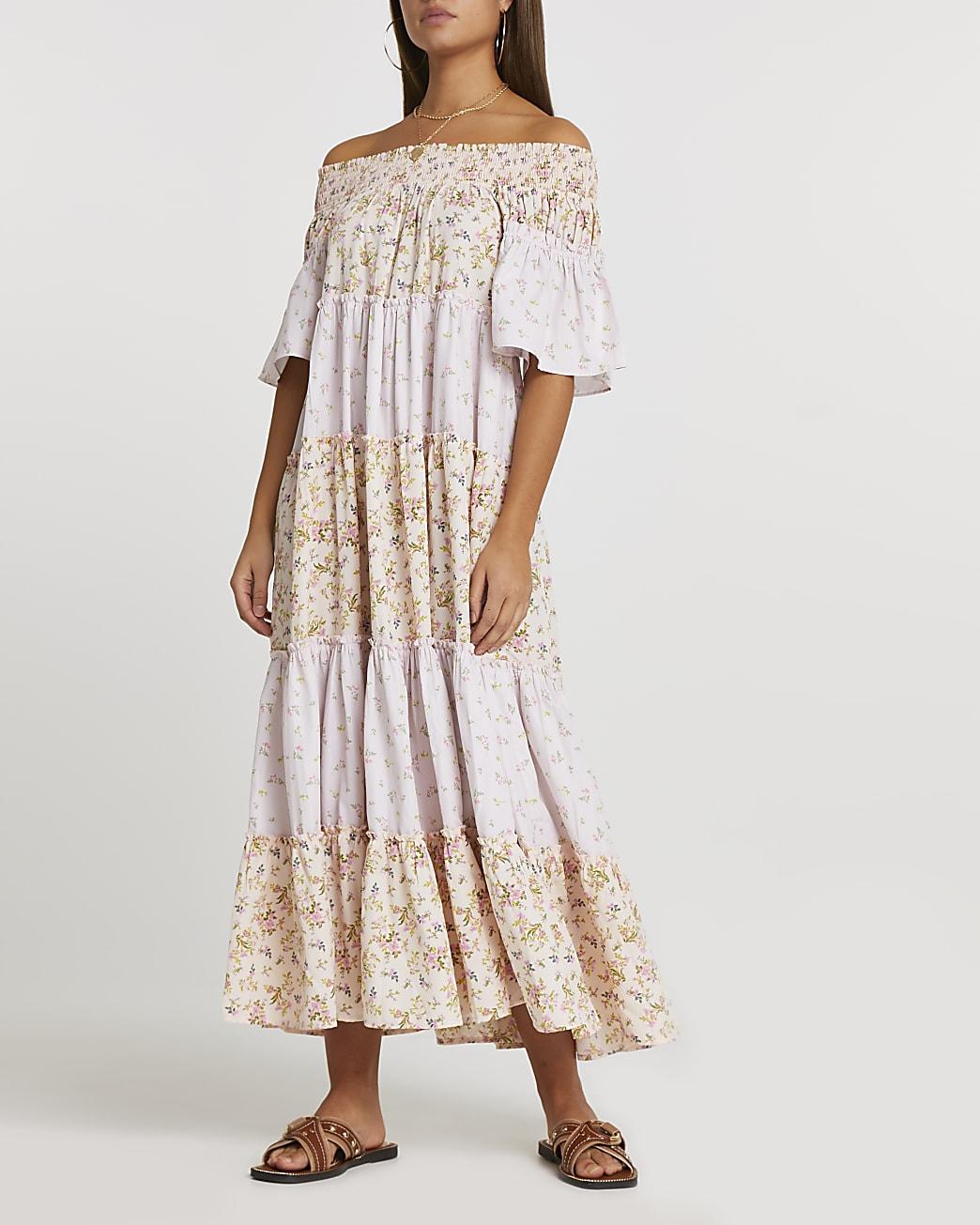 Pink floral print bardot maxi dress