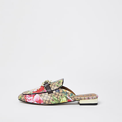 Pink floral print RI loafers