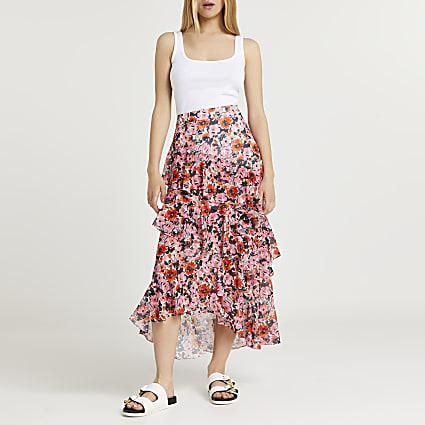 Pink floral print ruffle maxi skirt