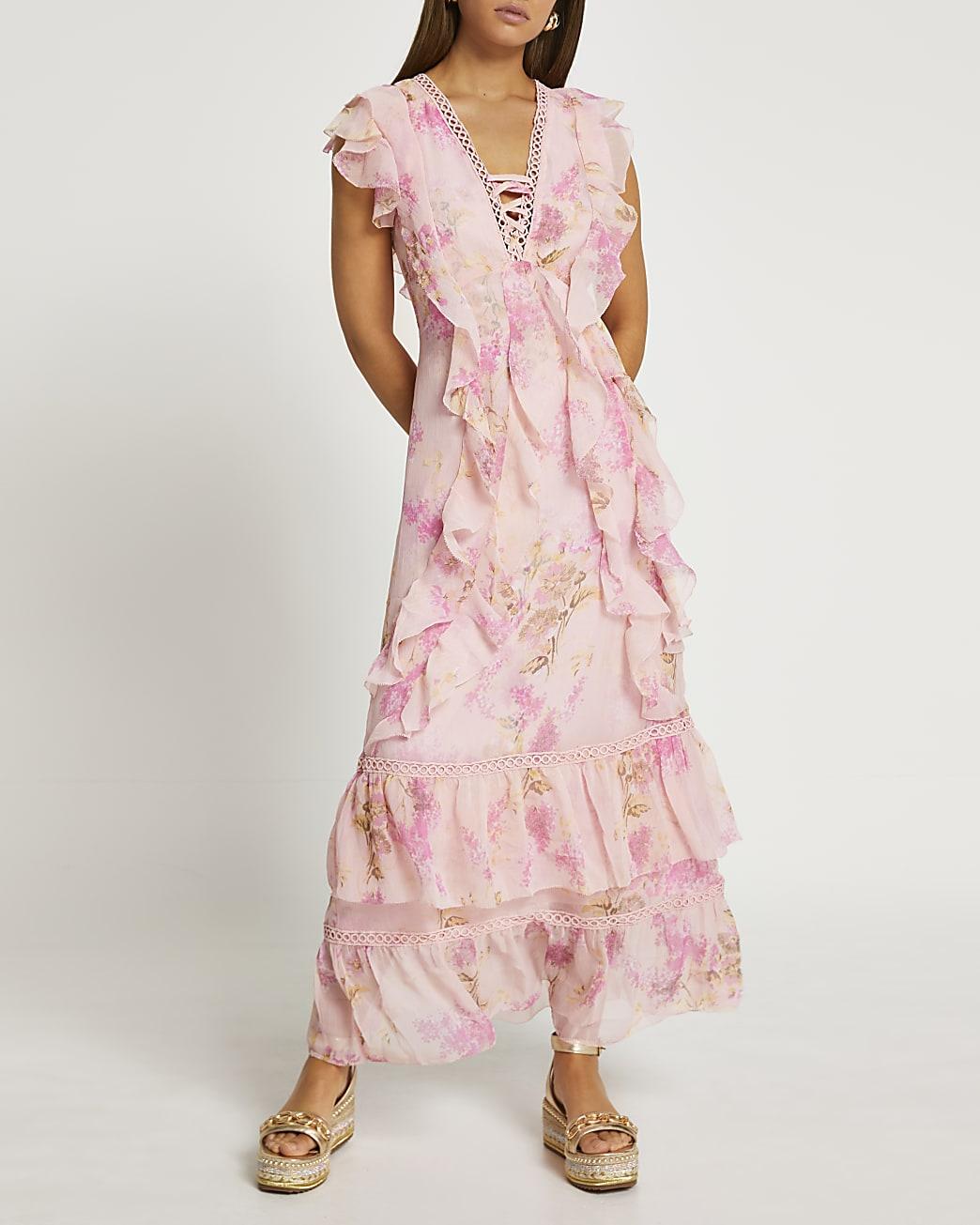 Pink floral print ruffled maxi dress