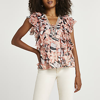 Pink floral print ruffled top