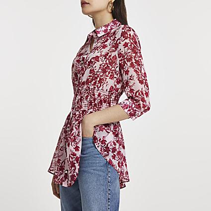 Pink floral print shirred waist shirt