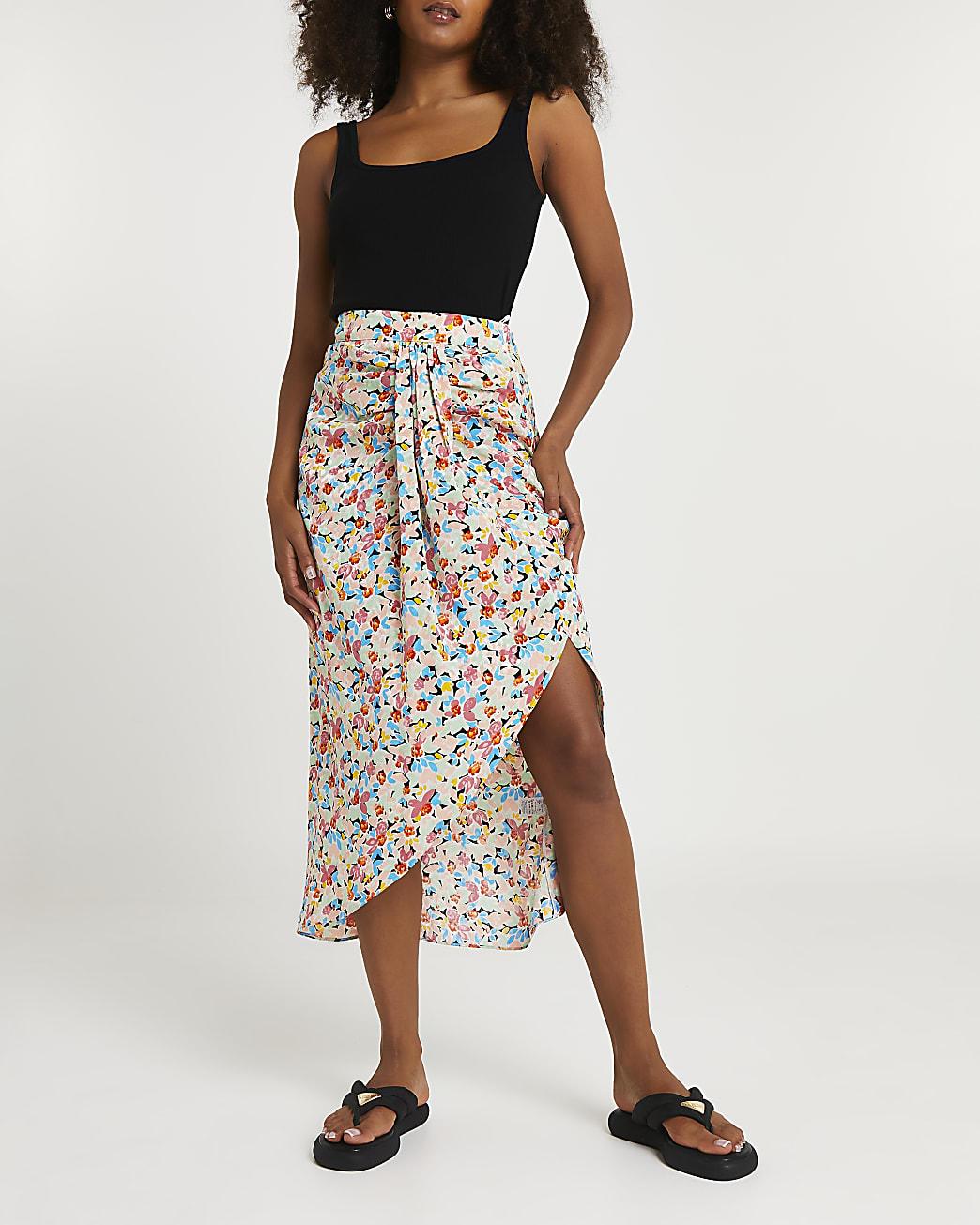 Pink floral print twist front midi skirt